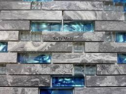 online shop 11pcs gray marble mosaic blue glass tile kitchen