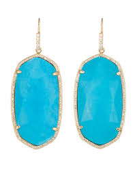 turquoise drop earrings kendra large pave trim drop earrings turquoise
