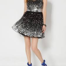 black waterfall sequined mesh party dress from rue21