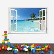 3d windows wall stickers sea beach hill island decals landscape
