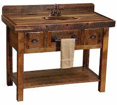 Furniture Style Vanity Open Oak Barnwood Vanity W Drawers Towel Bar Custom Log