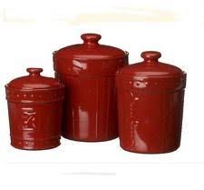 red canister set 3pc kitchen storage coffee tea sugar stoneware