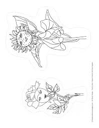 flower friends coloring page or make stick puppets with them