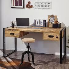 Schreibtisch Schmal Holz Schreibtisch Iron Mango Massiv Eisen Home24