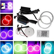 ring light effect app watherproof 2x130mm cob led rgb lens angel eye lights kit wireless