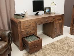 Dark Wood Office Desk Shiro Solid Walnut Dark Wood Furniture Large Office Pc Computer