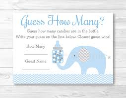 baby shower guessing blue chevron elephant baby shower guess how many cards