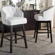 Baxton Studio Bar Stools Baxton Studio Ginaro White Faux Leather Upholstered 2 Piece Bar