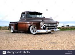 modified 1957 chevy 3100 step side pickup truck stock photo