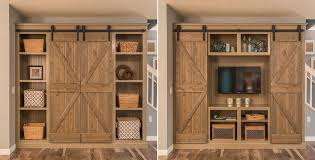 barn doors open the barn doors for an entertainment center and close them for