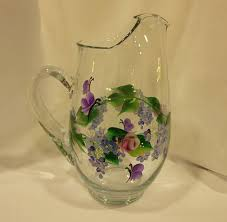pitcher of roses painted glass pitcher pink roses blue white daisies