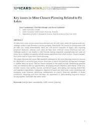 key issues in mine closure planning related to pit lakes pdf