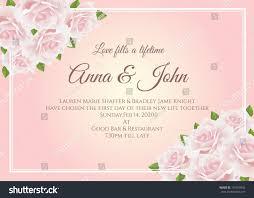 wedding card soft pink rose floral stock vector 701420932