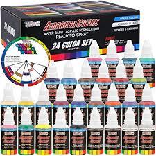 amazon com u s art supply 24 color acrylic airbrush leather