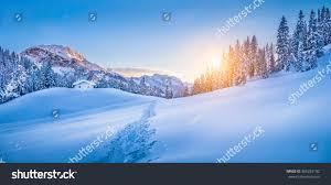 panoramic view beautiful winter wonderland mountain stock photo