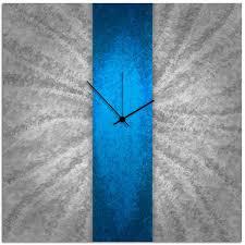 amazon com metal art studio u0027blue stripe clock u0027 modern metal wall