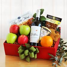 fruit and cheese gift baskets organic gift basket with wine fruit and nuts wine