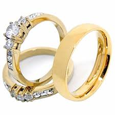 couples rings gold images His hers couples rings set 14k gold plated small round cz wedding jpg