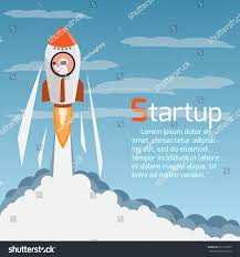rocket creative start day concept art stock vector 667110277