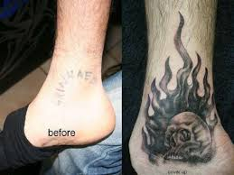 unique skull flames cover up design ideas on ankle for