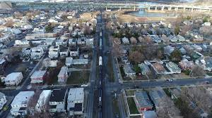 gloucester aerial view freight train gloucester new jersey heading to camden