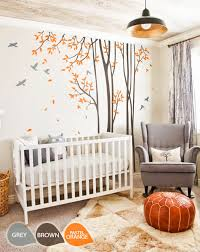 large nursery wall decals large nursery wall decal set with grey birds and orange leaves