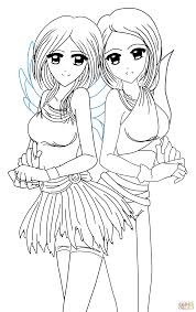 yin and yang anime twins coloring page free printable coloring pages
