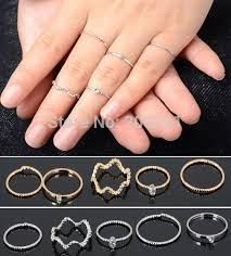 rings set images Punk rock gold stack plain band midi mid finger knuckle rings set jpg