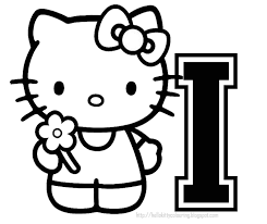 hello kitty coloring personalized coloring page initial letter