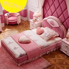 modern pink color upholstered unique kids princess bedroom