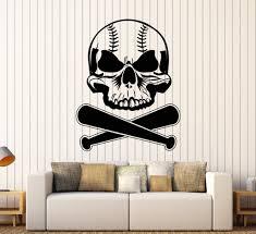 vinyl wall decal sports baseball bat skull stickers mural ig3736 vinyl wall decal sports baseball bat skull stickers mural ig3736