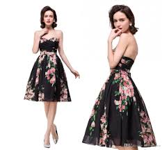 2017 floral print knee length country bridesmaid dresses
