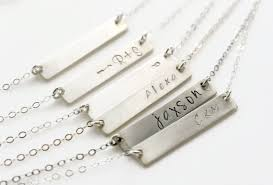 sterling silver nameplate necklace name plate necklace sterling silver bar necklace initial