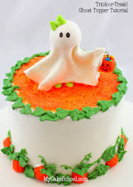 Halloween Decorations For Cakes by Cute Ghost Topper U0026 Pumpkin Border My Cake