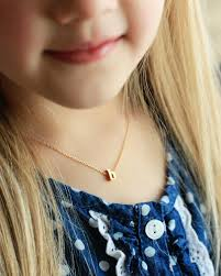 childrens gold necklace children s initial necklace lowercase personalized
