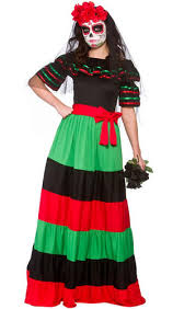 day of the dead ladies fancy dress mexican undead adults womens