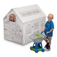 cardboard coloring grocery playhouse cardboard house