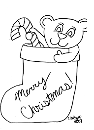 free printable coloring page teddy bear in christmas stocking