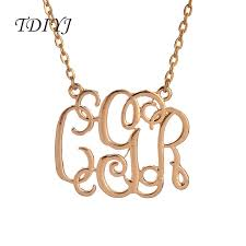 monogrammed necklace cheap tdiyj 5pcs zinc alloy silver gold personalized monogram necklace cgr