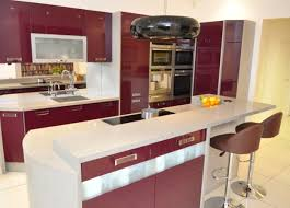 luxury kitchen island come with white and red glossy kitchen
