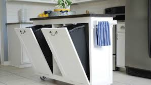 Kitchen Island With Garbage Bin Small Kitchen Carts On Wheels With Garbage White Cart Bin Cabinet