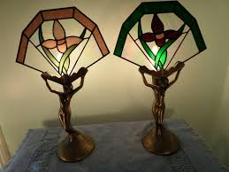 pair 2 brass figural angel table bedroom night lights with