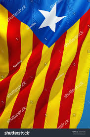 Flag With Yellow Star Catalonia Flag Catalan Flag 3d Rendering Stock Illustration
