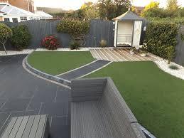 carbon black limestone flagstones modern patio landscaping