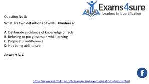 Willful Blindness Aml Acams Certification Exam