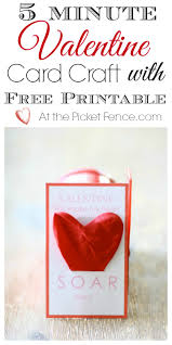 5 minute valentine craft and free printable at the picket fence