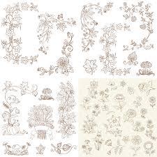 floral fall ornaments vector vector graphics