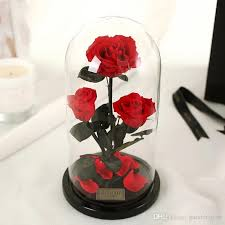 preserved roses 2018 preserved in glass dome three flower for gift