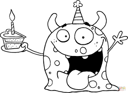 monster coloring page happy monster celebrates birthday with cake
