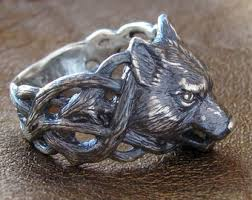 silver animal ring holder images Wolf ring etsy jpg